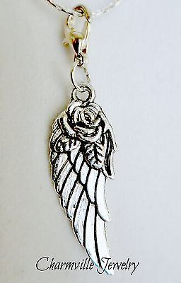 Angel Wing with Rose Dangle Floating Charm for Living Locket Necklace + Chain $3.50 www.charmvillejewelry.com