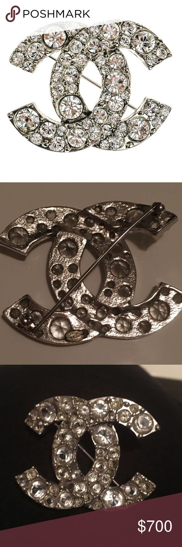 """Chanel Silver CC Logo Swarovski Crystals Brooch This Chanel Silver CC Logo Swarovski Crystals Brooch features polished silver finish accented with sparkling Swarovski crystals. Be a center of attention wearing this classic and timeless piece from Chanel!   In pristine condition. Material: Silver-Tone Metal  Origin: France  Measurements: 1.75""""L x 1.25""""H  Hardware: Silver-Tone  Closure/Opening: Roll Needle  Gemstones: Swarovski Crystals CHANEL Jewelry Brooches"""