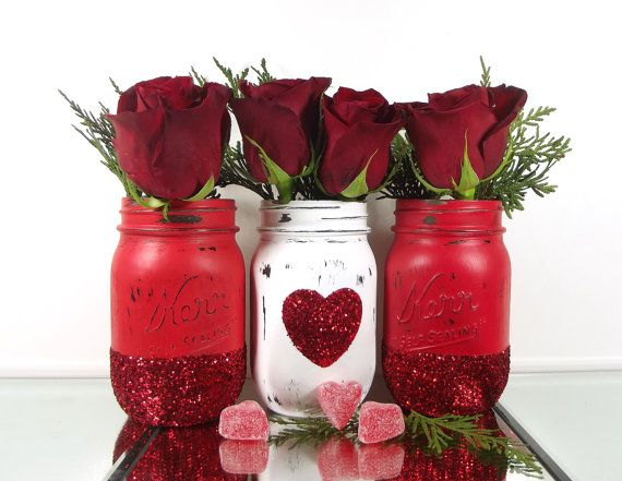 Glitter Mason Jars - Valentines Day Decor - Decorated Mason Jars - Room Decorations - Colored Mason Jars - Red Mason Jars - Distressed Jars