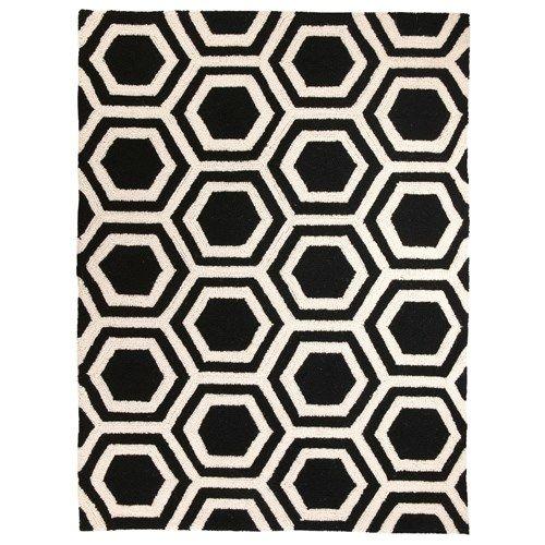 Black And White Hexagon! DL Rhein Hexagon Black Hook Rug