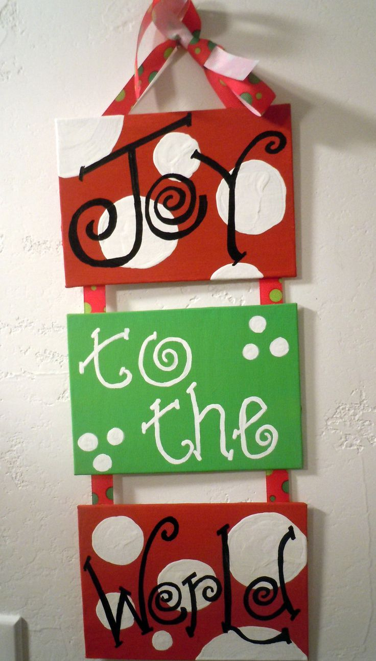 Christmas Decoration- Three 5x7 hand-painted canvas plaques connected with festive ribbon. $25.00, via Etsy.