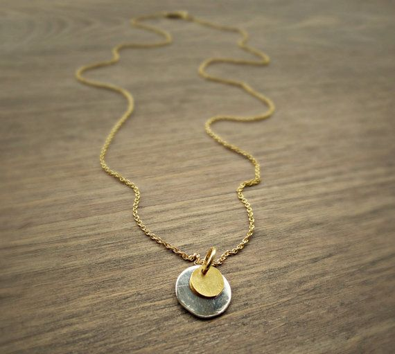 Gold disc necklace silver disc necklace double by SoCoolCharms, €23.94