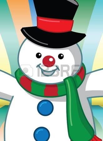 snowman: Image of cartoon snowman with colorful background Illustration