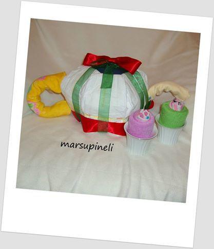 Πάμε για τσάι;Μια ωραία τσαγιέρα συνοδευόμενη από δυο cupcakes δώρο για τις μικρές πριγκίπισσες.Αποτελούνται από: πάνες, σεντονάκι, πετσέτες, καλτσάκια και μικρό τάπερ.
