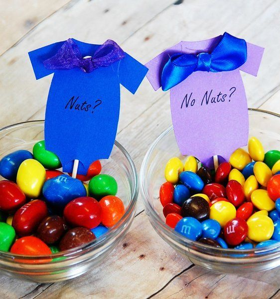 Nuts? or No Nuts? Gender Reveal Party Table Decor ~ M&M's ~ Blue and Purple ~ Funny!