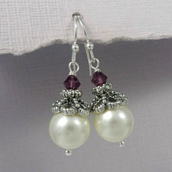 Ivory and Amethyst Earrings, 10mm Swarovski Ivory Pearl and Amethyst Crystal Earrings, Plum Earrings, Plum Wedding Earrings, Bridesmaid Gift