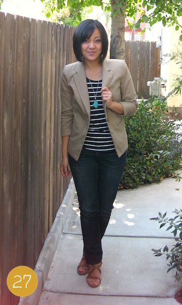 Putting Me Together: Final Stretch .... jeans, stripes, khaki jacket