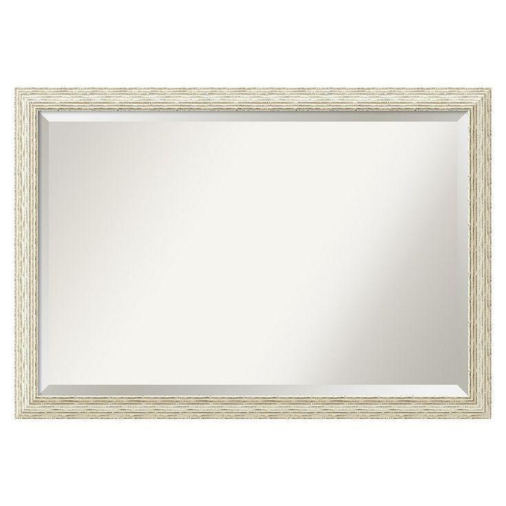 Amanti Art Cape Cod Whitewash Distressed Wood Large Wall Mirror, White