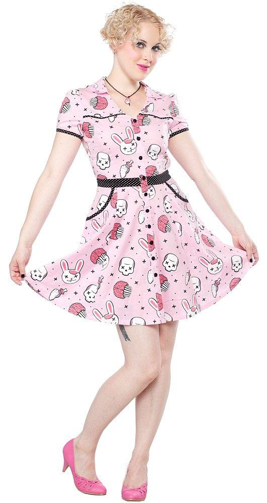 SOURPUSS ZOMBIE BUNNIES HELLBILLY DRESS:  Made by Sourpuss 95% Cotton 5% Spandex  $52
