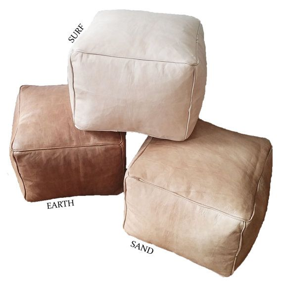 Square pouf handcrafted from natural, premium leather. Highly versatile -- can be used for seating, foot rest, or ottoman. Available in two sizes: