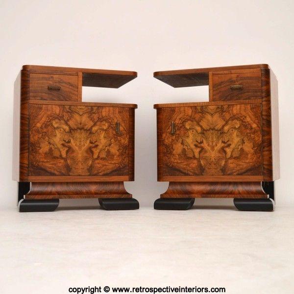PAIR OF ART DECO BURR WALNUT BEDSIDE CABINETS VINTAGE 1920 s