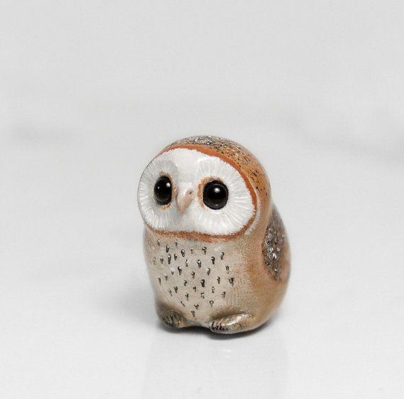 Barn+Owl+Figurine+OOAK+Handmade+Polymer+Clay+by+RamalamaCreatures