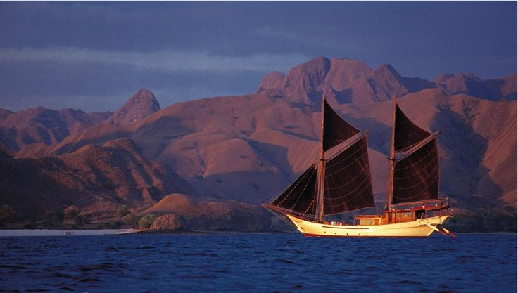 A phinisi style sailing yacht inspired by Indonesian legend, available for private charter.