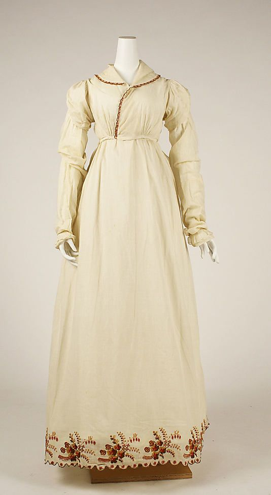 Morning dress, ca. 1806, American, cotton, wool. In the Metropolitan Museum of Art collection. (More pictures of this dress are available on the museum's website.)