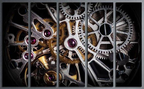 Clock Watch Mechanism Mechanical Gears Movement Diptych