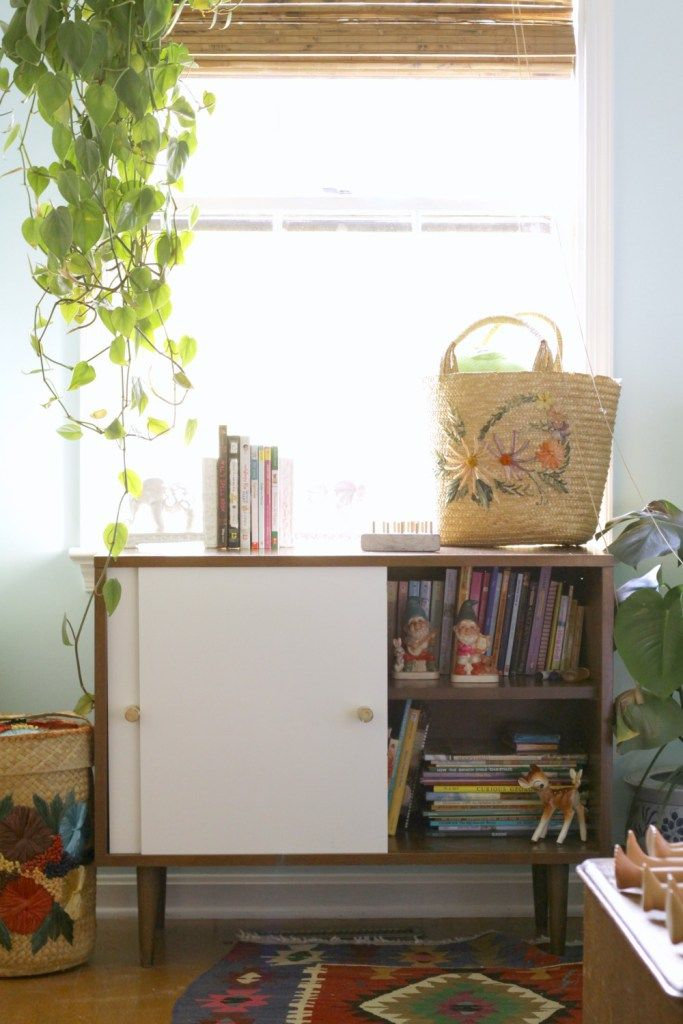 midcentury bookcase with new doors adding dry erase board