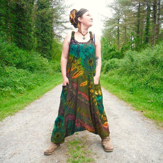 Green Rainbow Tie Dye Harem Bottom Dungarees Festival Jumpsuit