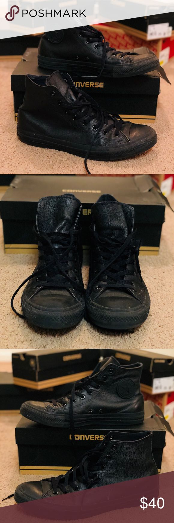 Chuck Taylor - Converse - Black Leather For sale is a used Chuck Taylor - Converse, Black (Leather) in Men's US sz 11 (Women's US sz 13). Style Code: 1T405. See pictures for condition. Additional photos available upon request. Converse Shoes Sneakers
