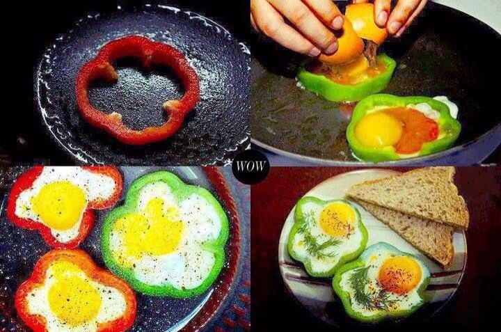 Breakfast egg with green pepper | Food & Drink | Pinterest