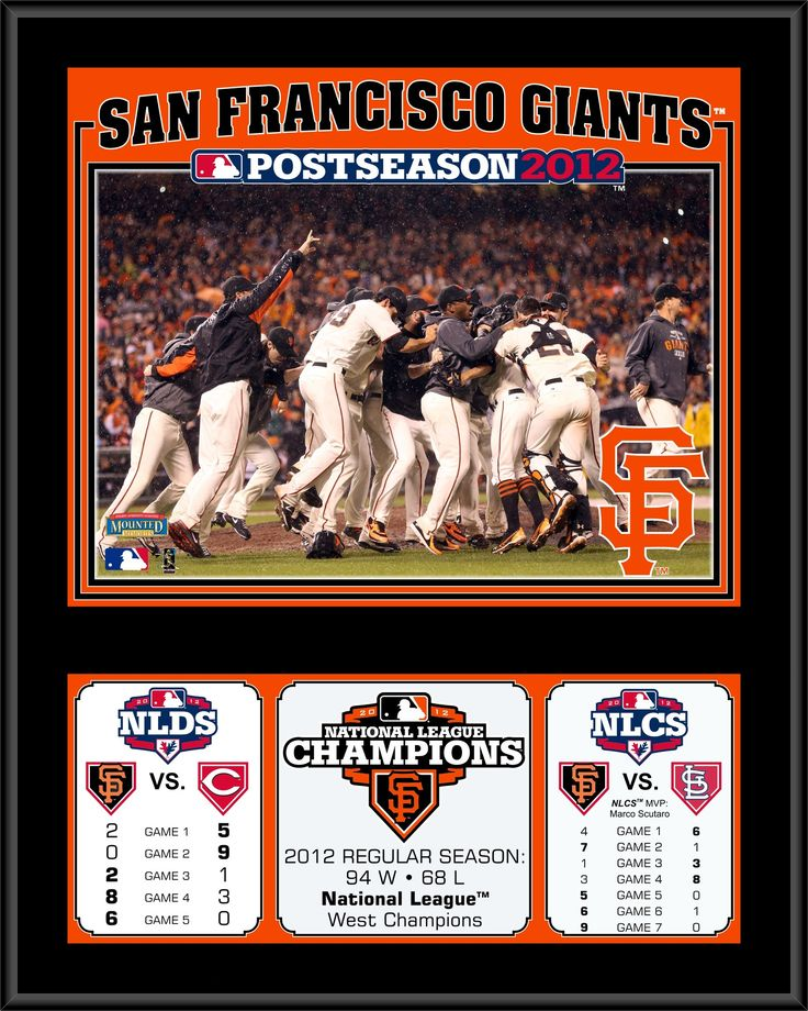 MLB San Francisco Giants 2012 National League Champions Sublimated Plaque