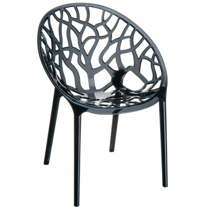 Moderne zwarte, transparante stoel 'GEO' uit polycarbonaat