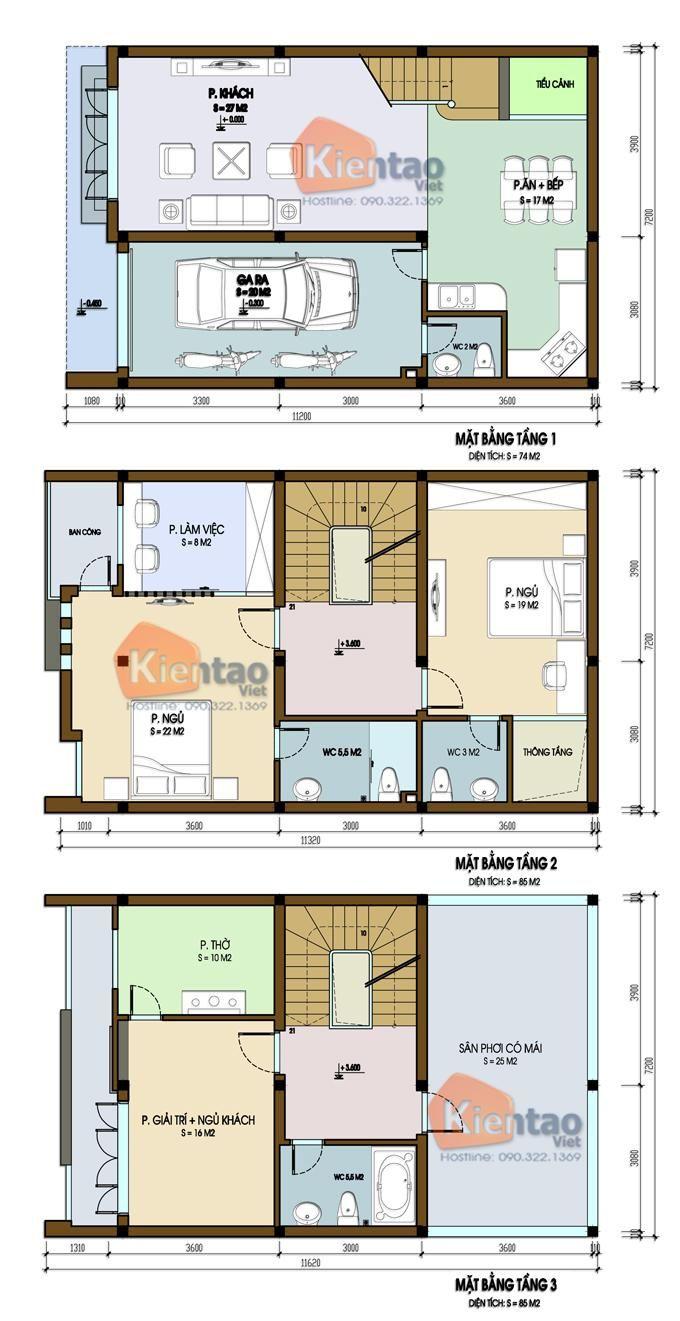Mặt bằng thiết kế nhà lô phố đẹp 3 tầng tại Hòa Bình, nhà chia lô đẹp, thiết kế nhà đẹp