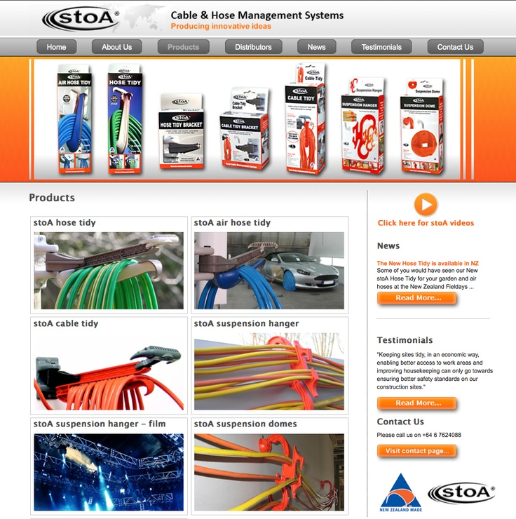 stoA Products design and develop cable and hose management systems, which are some of the most innovative, versatile and advanced storage systems in the world for storing and dispensing cables and hoses, they are very unique and are unlike any hose reel or cable reel in the world.