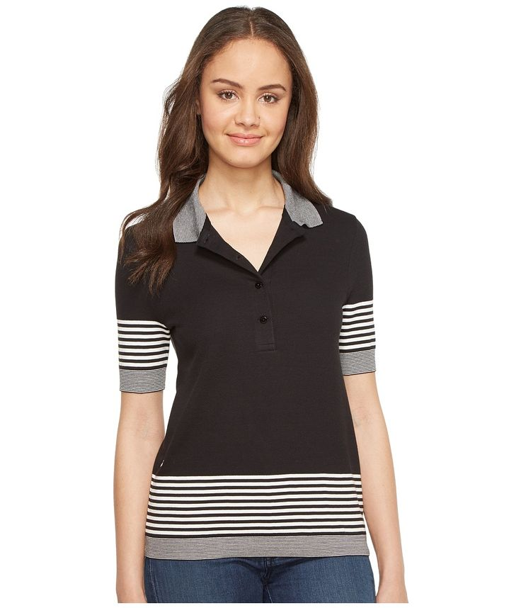 LACOSTE LACOSTE - SHORT SLEEVE PLACED STRIPE HONEYCOMB POLO (BLACK/FLOUR) WOMEN'S CLOTHING. #lacoste #cloth #