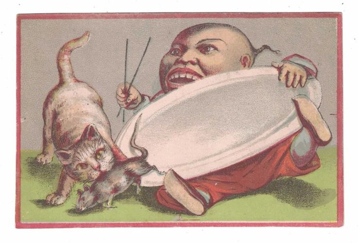 Chinese Man with Chopsticks - Cat attacking Rat Victorian Trade Card