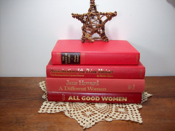 Red books vintage collection home decor staging by girlpickers books ephemera - Vintage home decorating collection ...