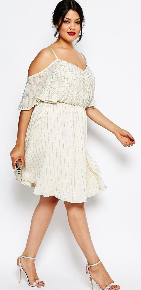 Love!  Plus Size Embellished Skater Dress with Cold Shoulder & Flutter Sleeve