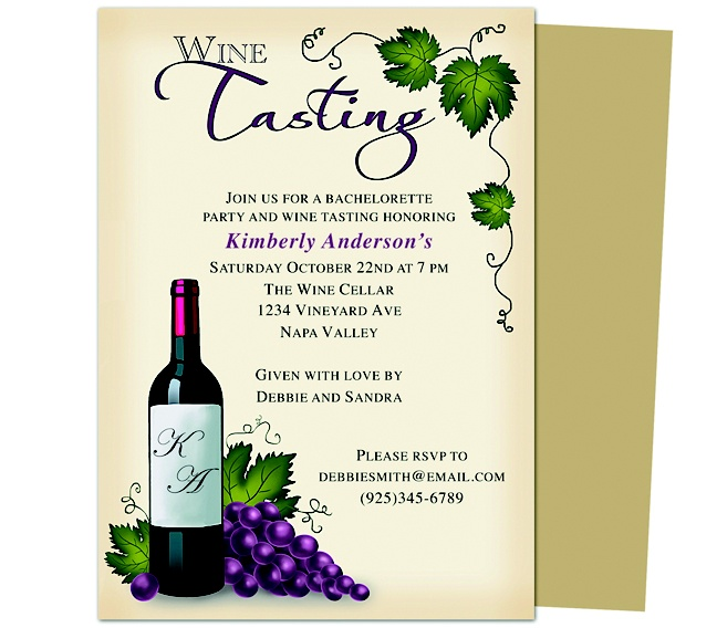 Printable DIY Bachelorette Party Invitations : Winery Bachelorette Party Invitation Template Design.