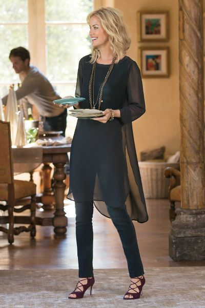 The essence of elegance, our sheer chiffon Relaxed Elegance Tunic floats over a soft knit tank lining to a side-slit dropped-tail hem. Sleek, chic and versatile, all it needs is your special holiday styling!