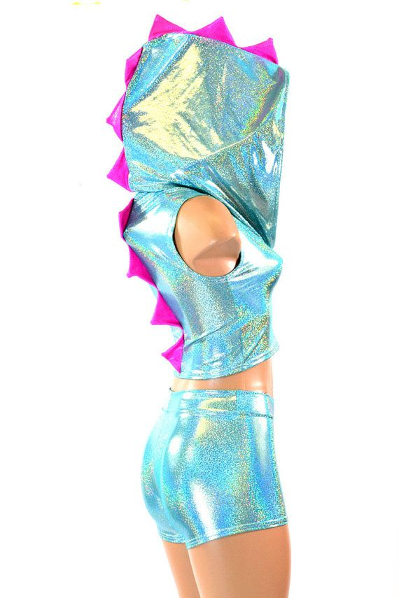 Pink and Teal Holographic Dragon outfit by CoquetryClothing