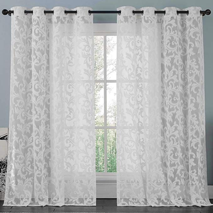 Athena White Lace Curtain Panel Set Beautifully Crafted Floral