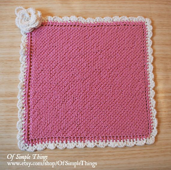 100% Cotton Hand Knitted Hand Towel/ Facecloth Pink and