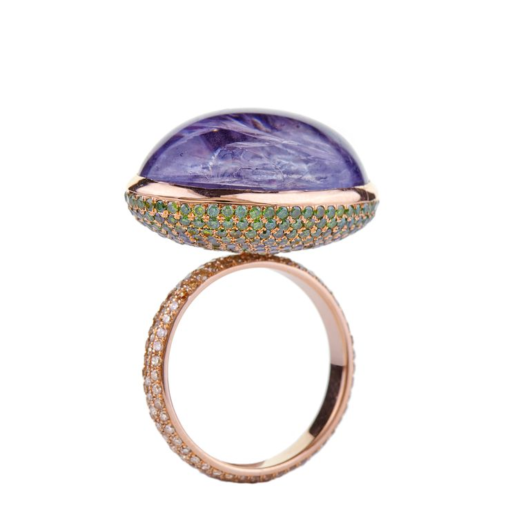 18K pink gold ring with cabochon-cut Iolite, green and brown Diamonds  www.lito-jewelry.com