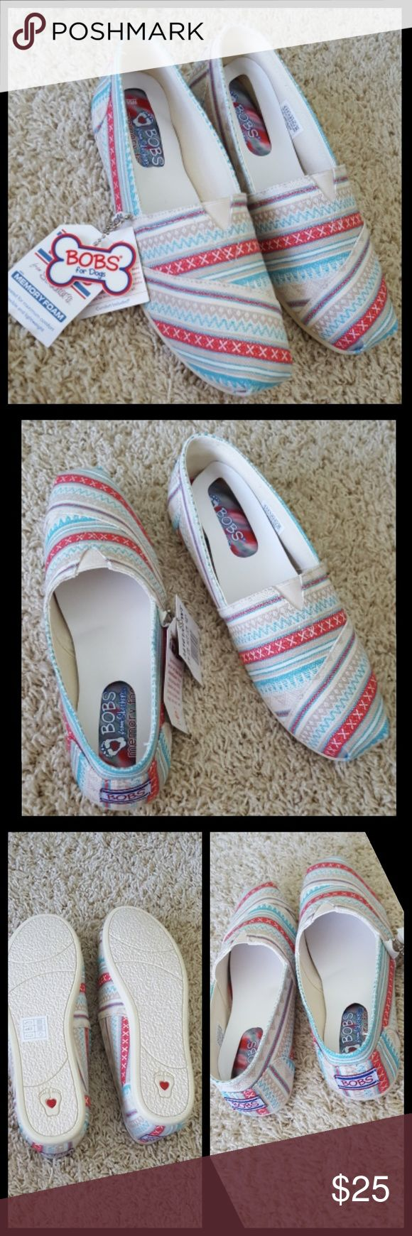 "New Bobs Skechers New with tags  Plush Lil Fox Alpargata Off White Bobs from Skechers  Memory Foam, flexible and lightweight.  Off White, tan, red and aqua colors Comes with ""Bobs for Gogs"" key chain. No Trades  No Modeling  Bundle and save Bobs  Shoes Flats & Loafers"
