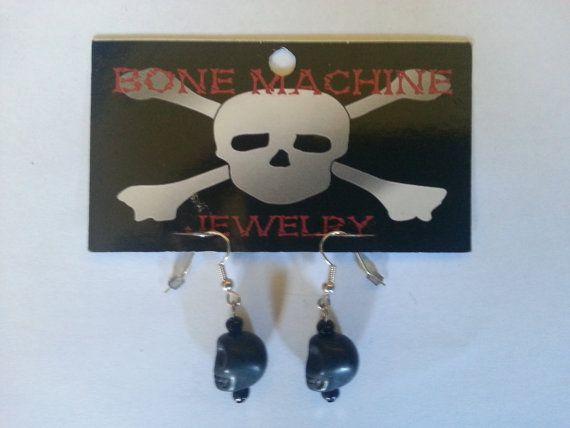 Black Howlite Skull Earings by BoneMachineJewelry on Etsy, $7.50