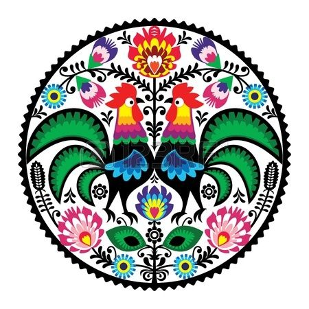 Polish floral embroidery with roosters - traditional folk pattern photo