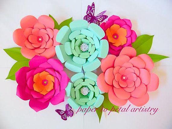 DIY fondo flores plantillas de flores y los patrones de papel / flores de telón de fondo DIY foto apoyos papel de telón de fondo de gigante flores vestido de fiesta decoración