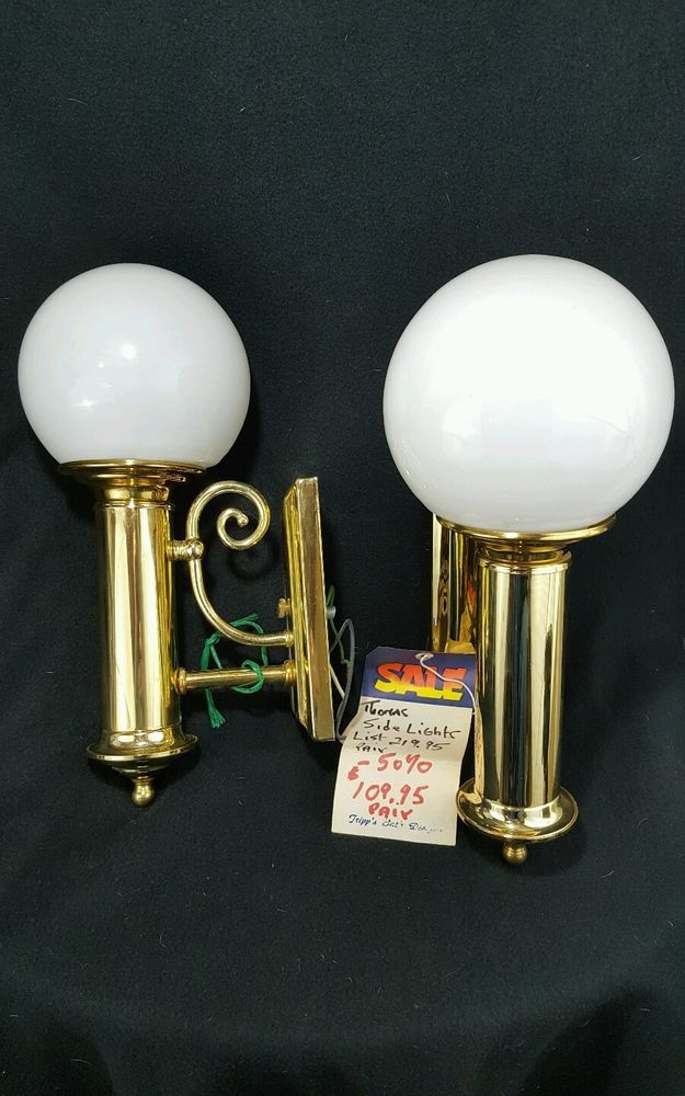 New Midcentury Wall Sconces Brass Glass Shade NOS Thomas Industries #ThomasIndustriesInc #Traditional
