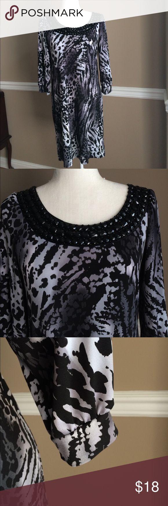 Animal print dress Slimming dress, jeweled neckline, very good condition B. Smart Dresses