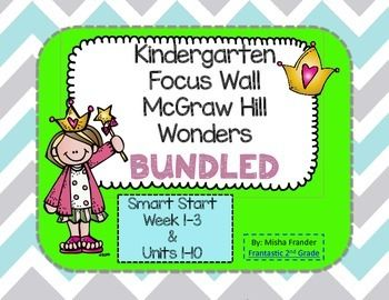 McGraw-Hill Wonders Reading Series Kindergarten Focus Walls for the whole year Smart Start Weeks 1-3 & Units 1-10  Cards for focus wall listing the following for each week of the unit:  Essential Question Vocabulary Words Oral Language Listening Comprehension Skill Comprehension Strategy Phonological Awareness Skill Phonics Skill High Frequency Words Text Connections Shared Read Grammar Skill Writing Skill