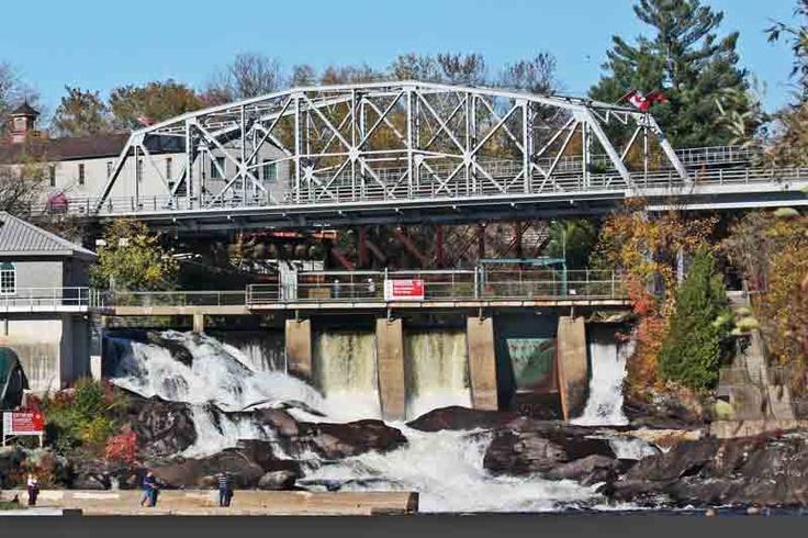 The Silver Bridge and North Falls on the Muskoka River - Bracebridge landmarks!