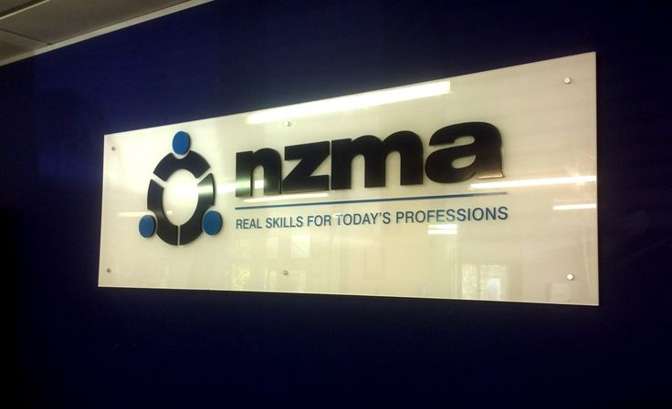 Acrylic reception sign for NZMA by Speedy Signs Newton