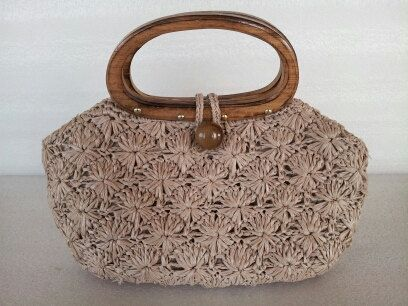 Cute! Vintage 50s 60s Made in Japan 124 Mod Straw Purse / Wood handle / Handbag on Etsy, $32.50