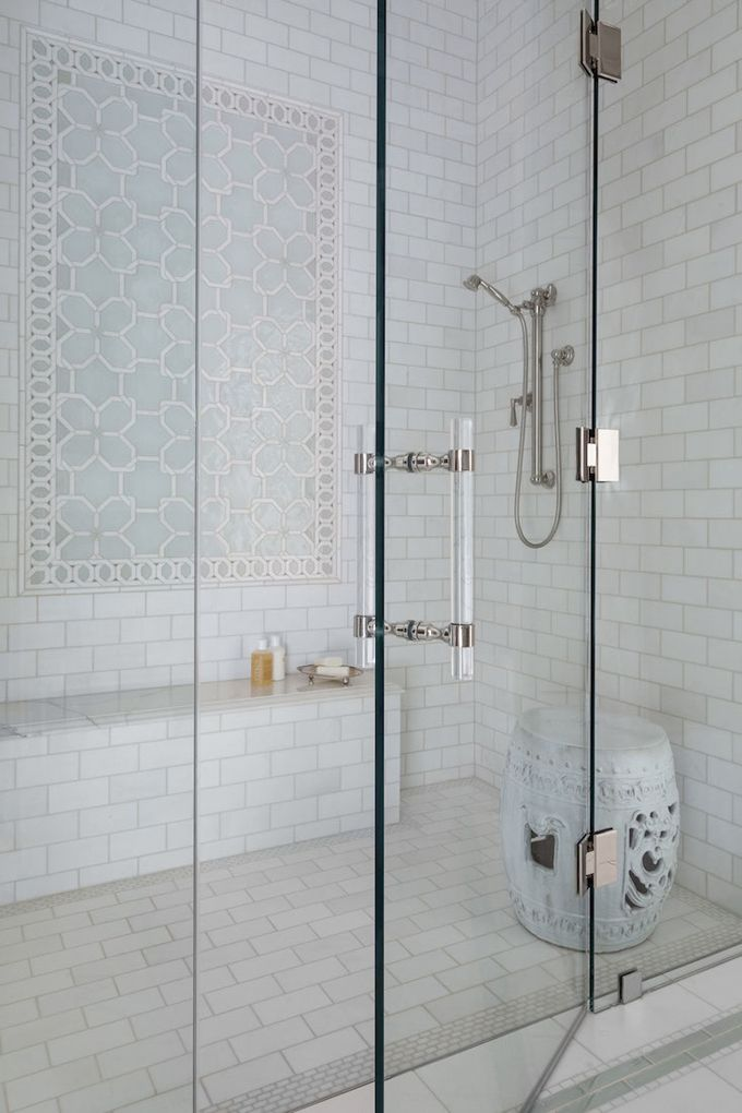 Beautiful white marble shower subway tiles with nickel fixtures - House of Turquoise: Collins Interiors