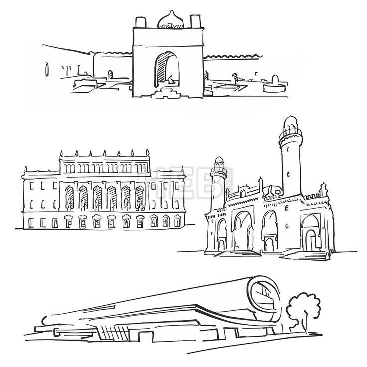 baku azerbaijan famous buildings hebstreits maps and sketches famous buildings architecture sketch baku