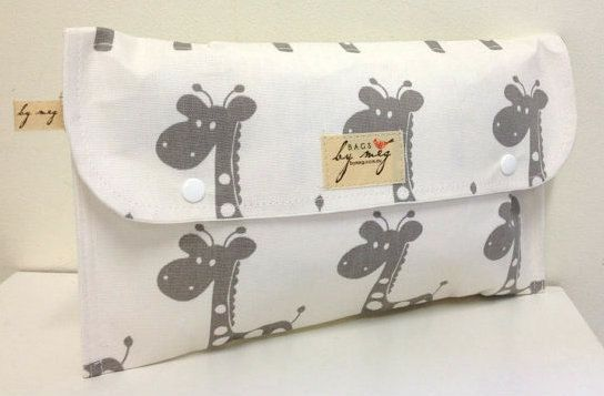 Diaper clutch Nappy wallet. Waterproof lining 'Gray Giraffe's on white'  cotton drill. Washable on Etsy, $21.79 AUD
